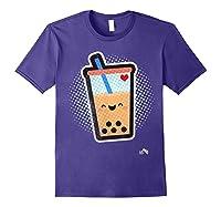 Boba Milk Tea Bubbles T-shirt Purple