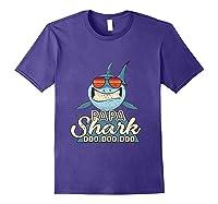 Papa Shark Doo Doo Funny Gift Dads Boss Man Shirts Purple
