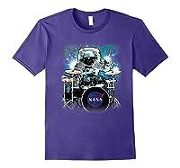 Nasa Space Drum Playing Astronaut Premium Graphic T-shirt Purple