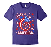 Festive 4th Of July, Independence Day Design Shirts Purple