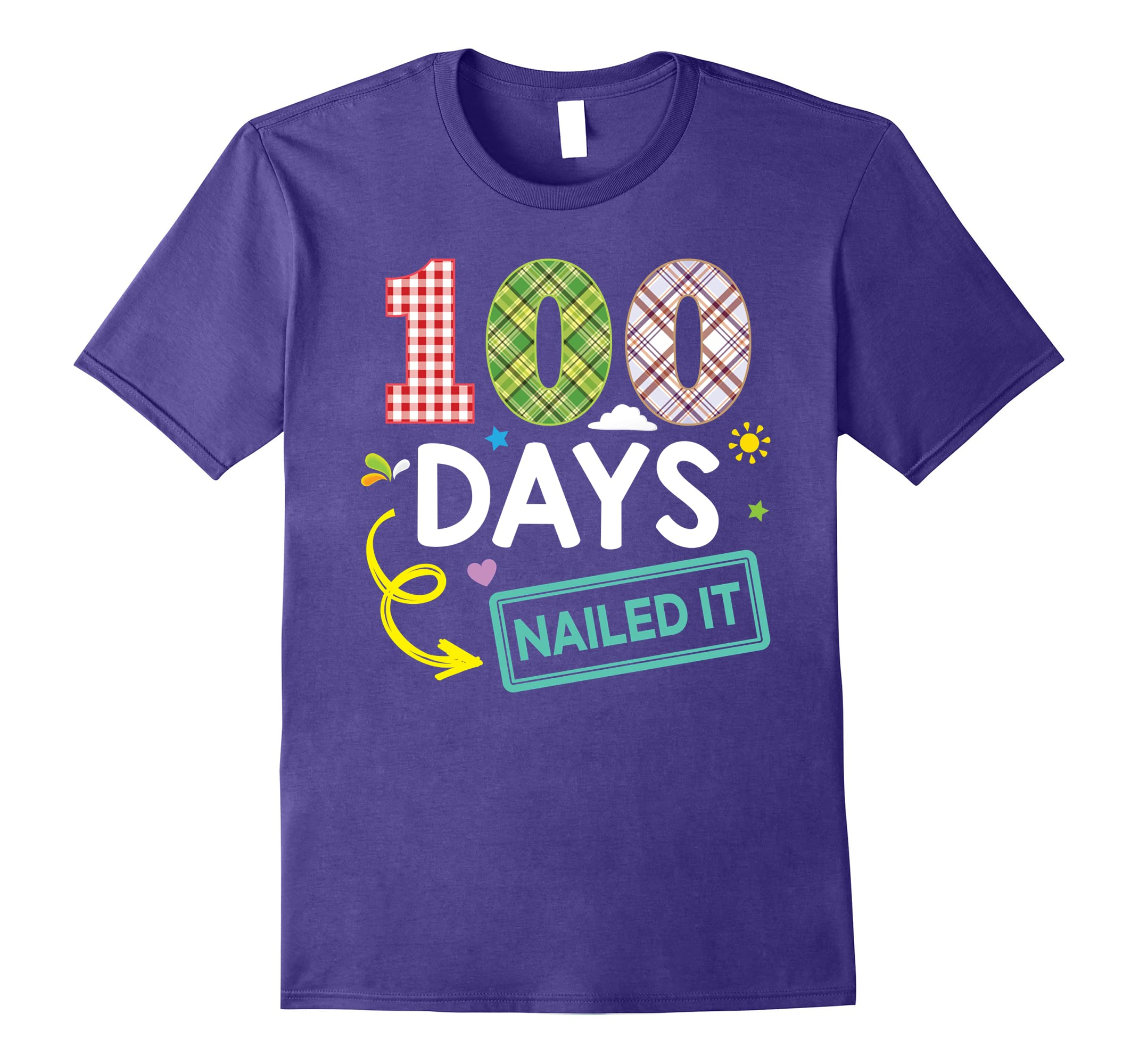 100 Days Nailed It 100th Day Of School Teacher & Kid T-Shirt-RT
