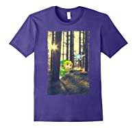 Nintendo Zelda Link And Navi Photo Real Forest Scene Shirts Purple