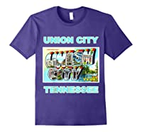 Lotta Shirts Union City Tennessee Postcard Greeting T Shirt Purple