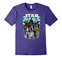 S Classic Comic Art Group Shot Darth Vader Shirts Purple