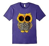 Owl Sunflower Shirt Funny Owl Lovers Shirt Purple