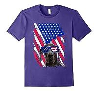 Vintage Great Dane Dog American Usa Flag Distressed Shirts Purple