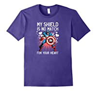Marvel Captain America Shield Heart Valentine Shirts Purple