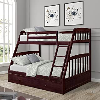 Twin Over Full Bunk Bed with Storage Drawers, WeYoung Solid Wood Bunk Bed Frame with 2 Raised Panel Bed Drawers, Separate to Twin/Full Bed (Espresso)
