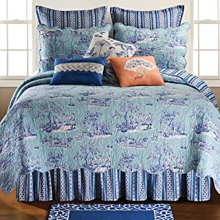 C&F Home Hampstead Toile 3 Piece Quilt Set All-Season Reversible Bedspread Oversized Bedding Coverlet, Full/Queen Size, Blue