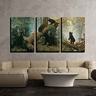 wall26 - Black Bears in Forest Painting - Canvas Art Wall Decor -16