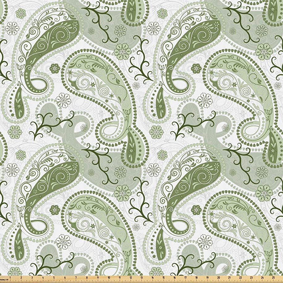 Lunarable Paisley Fabric by The Yard, Pastel Color Scheme with Swirls and Lines Floral Arrangement Lace Pattern, Microfiber Fabric for Arts and Crafts Textiles & Decor, 2 Yards, Pale Green White