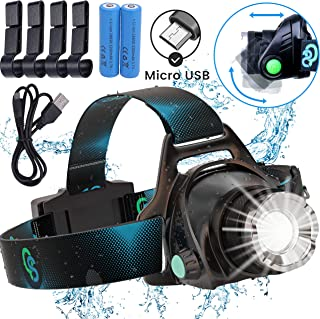 Rechargeable Headlamp, Hard Hat Light – Adults LED Headlamp Flashlight, Perfect..