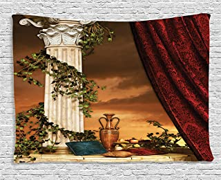 Ambesonne Gothic Tapestry, Greek Style Scene Climber Pillow Fruits Vine and Red Curtain Sunset, Wide Wall Hanging for Bedroom Living Room Dorm, 60