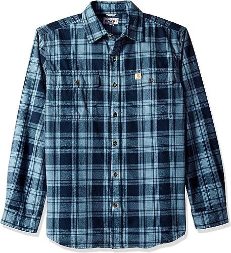 voiturehartt Hommes's Hubbard Plaid Flannel Shirt, Steel bleu, X-grand