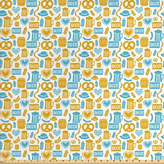 Lunarable Oktoberfest Fabric by The Yard, Beer Barrels Autumn Festivities German Traditional Celebration, Decorative Fabric for Upholstery and Home Accents, 1 Yard, Yellow Blue