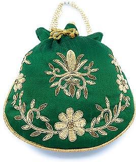 ADORA FASHION INDIAN HANDMADE POTLI/POUCH/CLUTCH BAG FOR WOMEN ADORA ACI 103 GREEN