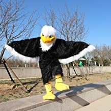 Langteng American Eagle Mascot Plush Cartoon Costume with Mask for Adult Cosplay Party Halloween Dress Up