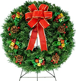 Sympathy Silks Christmas Memorial-Wreath Decoration - Holiday Colored Ornaments with Hand-Tied Red Burlap Bow on 30 Inch Easel - Artificial Greenery Wreath - Fade Resistant