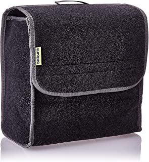 Sakura Small Flip-Top Boot Organiser for Cars and Other Vehicles SS5232 – Dark Grey Carpet Material, Hook and Loop, Carry ...