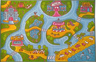 KC Cubs Kev & Cooper Playtime Collection Girls Road Map Educational Learning & Game Area Rug Carpet for Kids and Children Bedrooms and Playroom, 3' 3