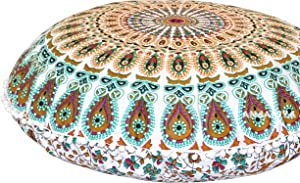 "ANJANIYA - 32"" Peacock Mandala Bohemian Yoga Meditation Floor Pillow Cover Comfortable Home Car Bed Sofa Cushion Couch Seating Large Zipped Throw Hippie Decorative Ottoman Boho Indian (Multi)"