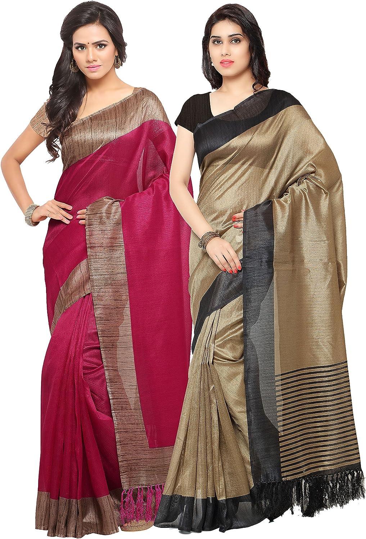 Rajnandini Women's Tussar Silk Printed Saree(JOPLNB3006C3011D_Multicolor_Combo Of 2)