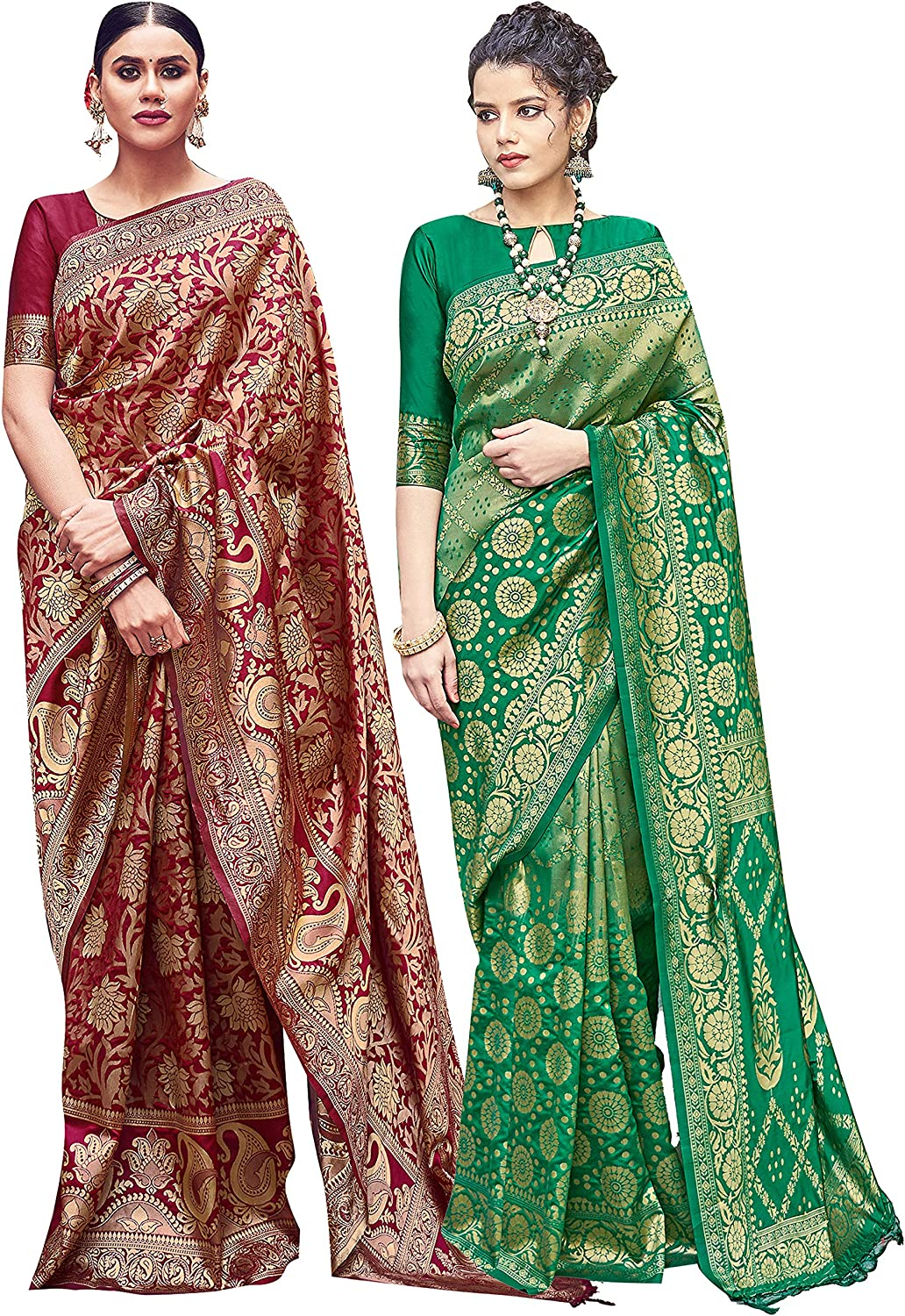 Pack of Two Sarees Online limited product for Women Banarasi Silk Woven Saree In a popularity Art Ind