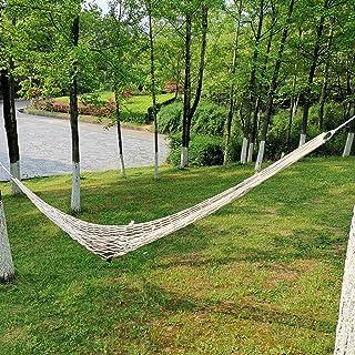 JIEJIE Hamaca Columpio de Cuerda de algodón de Malla Hamaca fácil de Instalar Conveniente for Acampar al Aire Libre 260x100cm QIANGQIANG (Color : Off, Size : White)