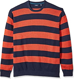 IZOD Men's Big and Tall Fine Gauge Stripe Crew Sweater Pullover