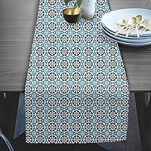 RADANYA Abstract Print Table Runner Taffeta Silk Fabric Decor for Wedding Home Kitchen Birthday Party 14''x72''