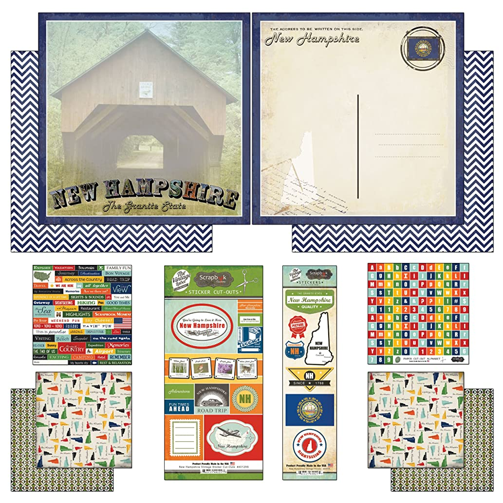 Scrapbook Customs Themed Paper and Stickers Scrapbook Kit, New Hampshire Vintage
