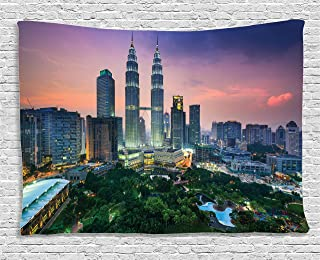 Ambesonne Wanderlust Decor Collection, Kuala Lumpur, Malaysia City Skyline. Klcc City Centre Park Shopping Tourist Attractions, Bedroom Living Room Dorm Wall Hanging Tapestry, 60W X 40L Inch