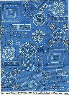 Giddy Up Ride Em Cowboy Blue Bandana Fabric ~HALF YARD~ by Henry Glass 9607 American Beauty by Beth Logan Quilt Fabric 100% Cotton 45