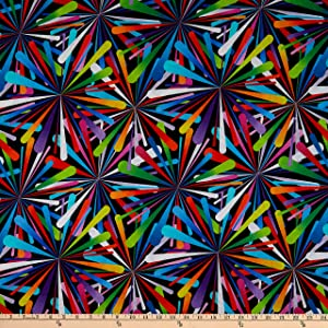 Henry Glass Smashing Atoms 108'' Quilt Back Black/Multi Fabric by the Yard