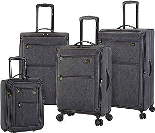 Lee Topeka Softside Expandable Spinner Luggage Set, Gray, 4-Piece (17/20/24/28)