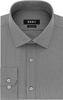 DKNY Men's Dress Shirt Slim Fit Stretch Check, Fog, 16.5