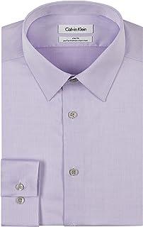 قميص رسمي للرجال بقصة ضيقة وتصميم مضلع مصنوع من قماش لا يحتاج للكي من كالفن كلاين