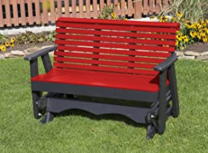 Ecommersify Inc 5FT-Bright RED-Poly Lumber ROLL Back Porch Glider Heavy Duty Everlasting PolyTuf HDPE - Made in USA - Amish Crafted