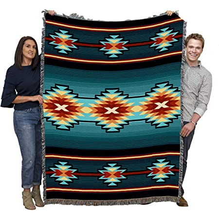 Amazon Com Taos Southwest Native American Inspired Tribal Camp Blanket Throw Woven From Cotton Made In The Usa 72x54 Home Kitchen