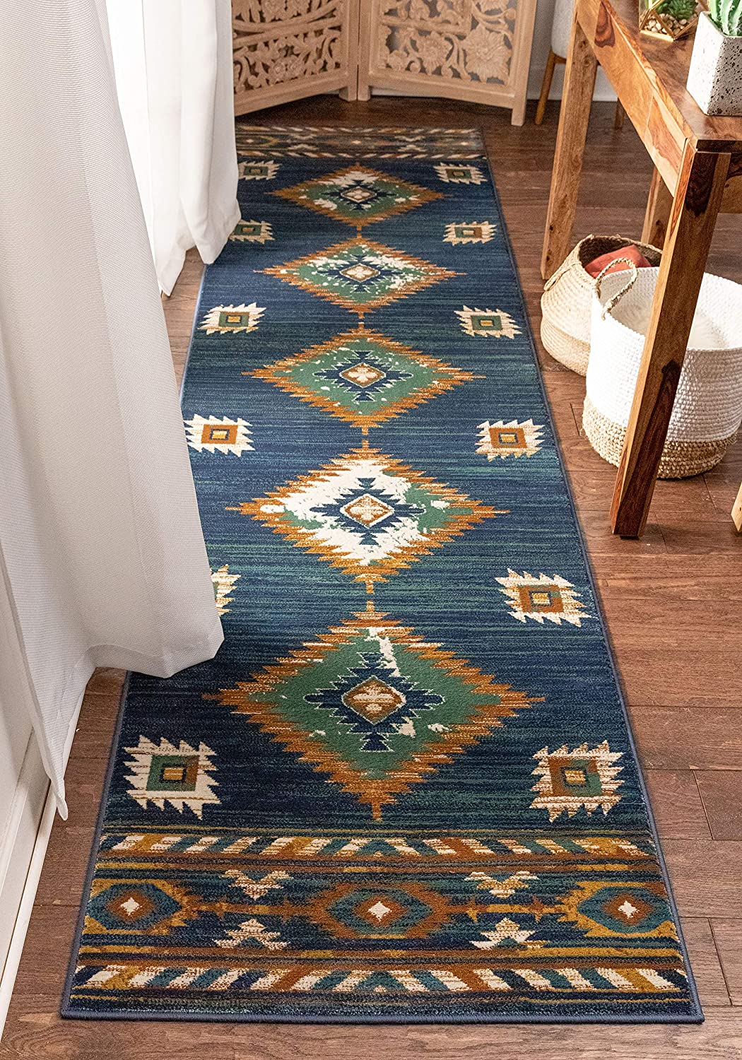 Well Woven Lizette New product! New type Dark Blue Rug Medallion 3x San Jose Mall Traditional Runner