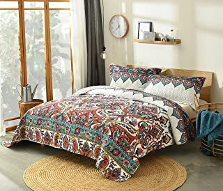DaDa Bedding Bohemian Paisley Bedspread - Earthy Meadow Quilted Coverlet Set - Multi-Colorful Floral Print - Queen - 3-Pieces