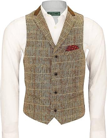 Mens Tweed Check Herringbone Oak Brown Grey Tailored Fit Retro Velvet Collar Waistcoat Vintage Vest [Chest UK 36 EU 46,Light Oak Brown ]