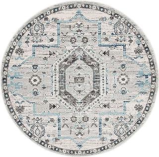 Safavieh Mila Tapis Rond en polypropylène tissé Gris/Gris foncé, 200 x 200 cm