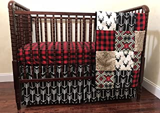 Nursery Bedding, Woodland Crib Bedding Set - Deer Crib Bedding with Red & Black Buffalo Plaid and Black Arrows
