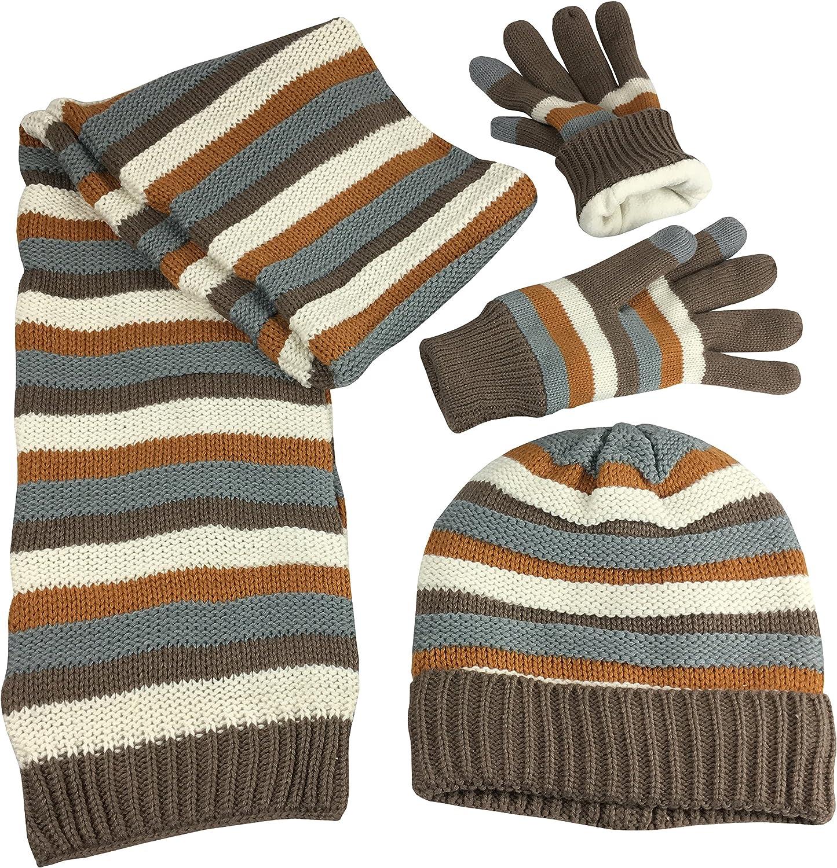 N'Ice Caps Women's Striped Knit Hat Scarf Touchscreen Glove 3PC Fleece Lined Set