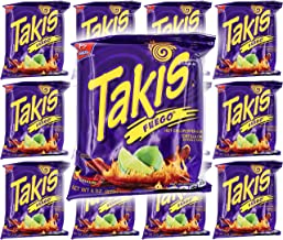 Takis Fuego Hot Chili Pepper & Lime Tortilla Chips, 4oz Bag (12-Pack)