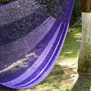 NOVICA Purple Nylon Hand Woven Mayan Hammock, 'Lilac Blossom' (Single