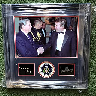 President Donald Trump & Former President Ronald Reagan Custom Framed Photo with Laser Etched Signature w/Presidential Seal Emblem 22x23