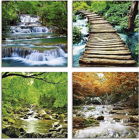 Wandbild Glas-Bild Druck auf Glas 100x50 Deko Landschaften Wasserfall im Wald