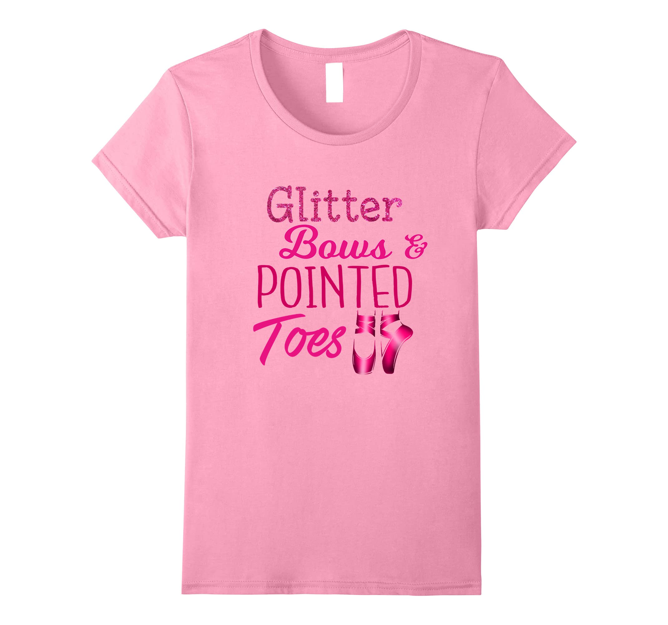 e803809b2d1d Amazon.com: Glitter Bows Pointed Toes Funny Cheer Dance Ballet Shirt:  Clothing